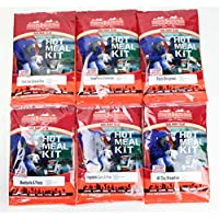 Hot Pack of 6 Self Heating Meals Mixed Flavours for Camping