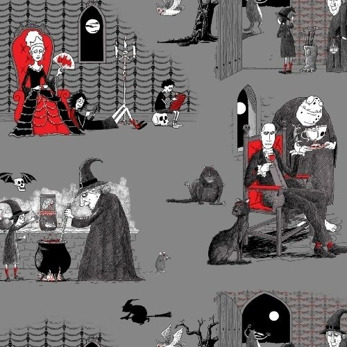 Fat Quarter Kuriositäten Halloween Szene Baumwolle Quilten Stoff–Elizabeth 's Studio (Stoff Halloween Quilten)