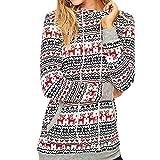 TianWlio Weihnachten Pullover Langarmshirt Bluse Hoodie Frauen Herbst Winter Weihnachten Pullover Schnee Muster Blumenmuster Hoodie Beiläufig Tops Bluse (XL, Weiß)