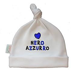 Zigozago - Babymütze mit Knoten. Er Hat die Stickerei Cuore NERAZZURRO - Größe 0-6 Monate
