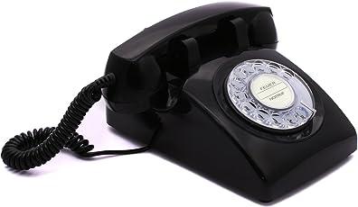 Opis 60s Cable mit Klassischem Deutsche Post Pappeinleger: Retro Telefon im sechziger Jahre Vintage Design mit Wählscheibe und Metallklingel (schwarz)