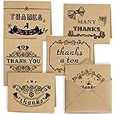 Kuuqa Merci Cartes de Vœux et Enveloppes Assortis Lot de 36 (6 Designs)