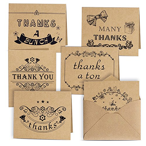 Kuuqa Dankes Karte Danksagungskarten 6 Ausführungen 36 Stück mit 36 Umschläge und Kleber Aufkleber