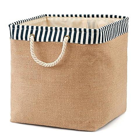 EZOWare Foldable Burlap Laundry Basket ( 36 x 37 x 36 cm ) Storage Bin Bag for Clothes, Towels, Books, Children Toys, DVDs, CDs – Blue / White ( Medium