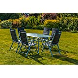 kingfisher 8 piece black padded chairs x6 glass table parasol garden patio furniture set