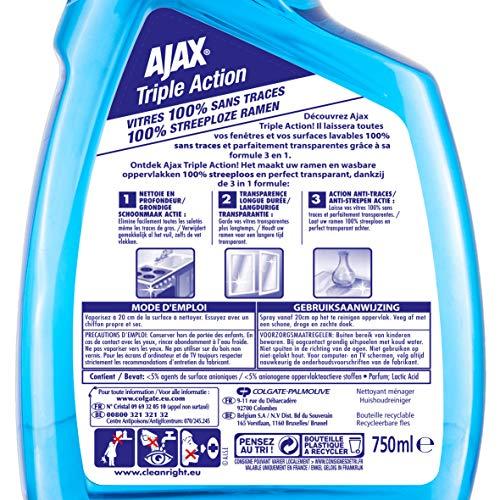 AJAX Produit Ménager Entretien, Nettoyant Vitre Pistolet Spray, Triple Action, 4 x 750 ML