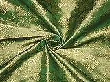 Seide Brokat Stoff smaragd grün & gold Farbe 111,8cm