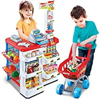 BARGAINS-GALORE KIDS SUPERMARKET SHOP GROCERY PRETEND TOY TROLLEY PLAYSET LIGHT SOUND PLAY GIFT