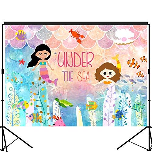 musykrafties, unter dem Meer Meerjungfrau Prinzessin Hintergrund große Banner Dekoration Dessert Tisch Hintergrund Vintage Prop 7x 5Fuß