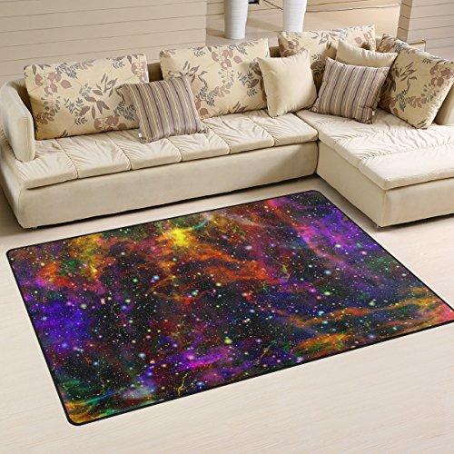 Naanle Universe Nebula Nuit Ciel étoilé antidérapant Zone Tapis pour salon salle de salle à manger Chambre à coucher de cuisine, 50 x 80 cm (1.7 'x 2.6' ft), Abstrait coloré Chambre d'enfant Tapis de sol Tapis Tapis de yoga, multicolore, 50 x 80 cm(1.7' x 2.6')