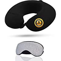 Trajectory 2 in 1 Travel Combo: Supercomfy Travel Black Neck Pillow with Sleeping Eye Mask