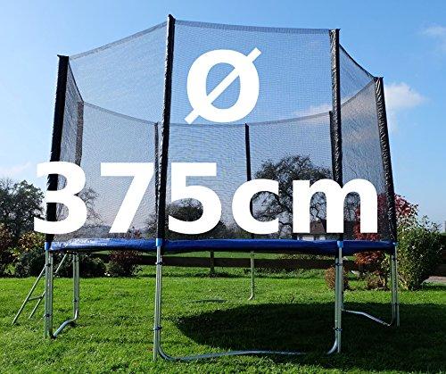 Outdoor Gartentrampolin Trampolin XL - 375cm komplett inkl. Sicherheitsnetz und Leiter TÜV geprüft von AS-S