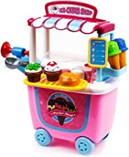 Toys Bhoomi Fascinating Household Push Cart Trolley Ice Cream Parlor Shop - 31 Pieces