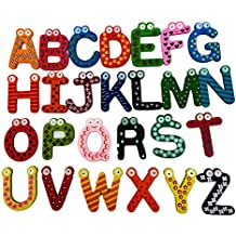 Juego de 26imanes de nevera pegatinas coloridas magnético A-Z letras de madera niños juguetes educativos