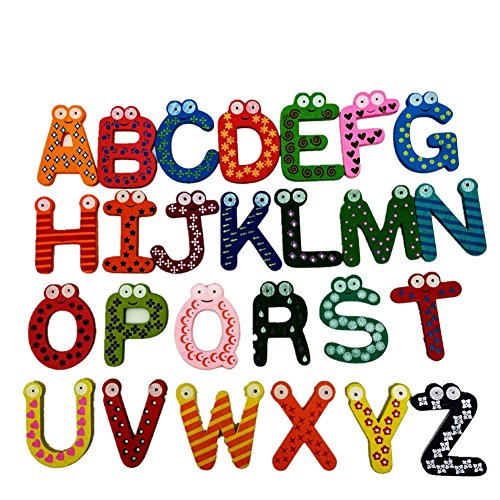 26Stück Kühlschrank Magnete Aufkleber Colorful Magnetverschluss A-Z Holz Buchstaben Kinder Bildungs-Spielzeug
