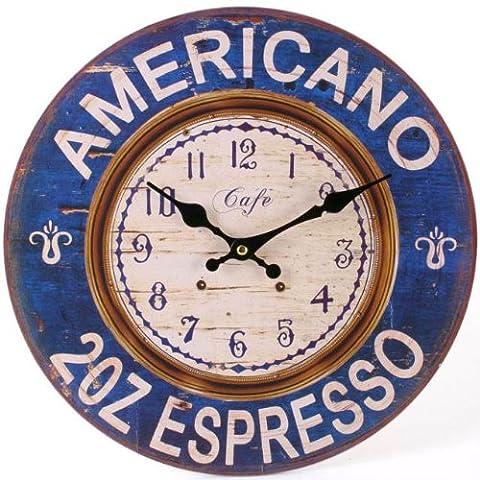 Americano 2 oz expresso Grande horloge murale Vintage Style rustique effet Antique
