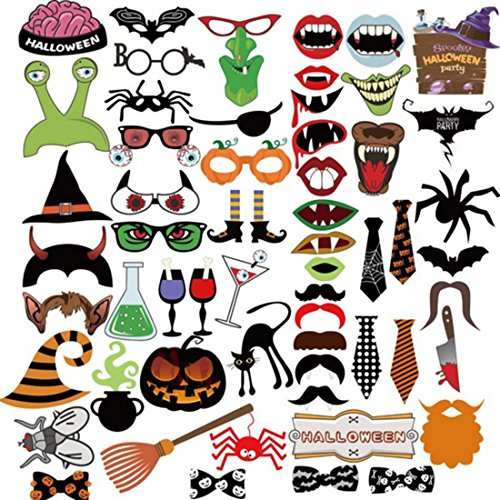58Pcs Halloween Horror Decoration Supplies Paper Beard Spider Pumpkin Witch Cap Photo props Party Wedding Birthday Hen Party Photo Booth Props Kit on Sticks