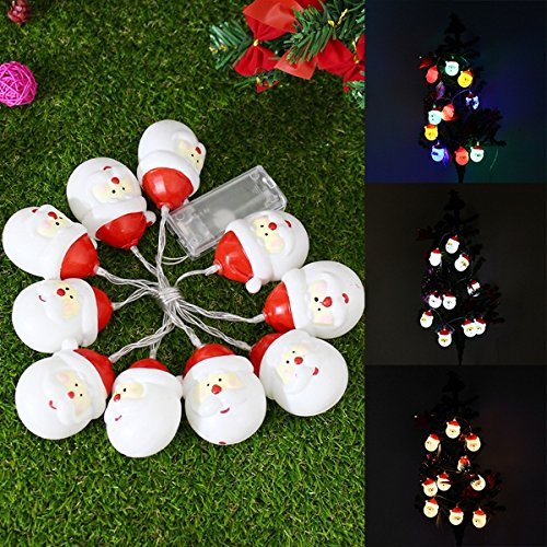 Multi Color Christmas Tree (MASUNN Batteriebetriebene 1,2 m 10LEDs Santa Claus Fairy String Light für Christmas Tree Party Patio-Multicolor)