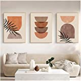 Kkglo 3Pcs Modern Abstract Wall Art Home Decor Rainbow Art Print Canvas Painting Geometric Poster Neutral Boho Wall Pictures