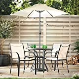 VonHaus 6 Piece Patio Dining Set - 4 Seater Outdoor Garden Furniture with Glass Topped Table + 4 Stackable Chairs + Parasol Umbrella for Decking or Balcony
