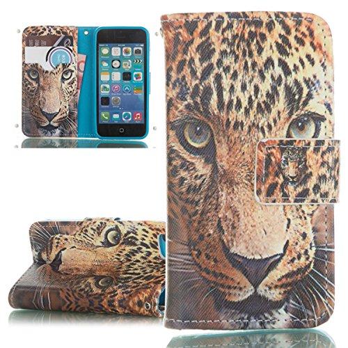 ISAKEN Custodia iPhone 5C, Cover iPhone 5C Flip Case, Elegante borsa Custodia in Pelle Protettiva (Leopard Elegante)