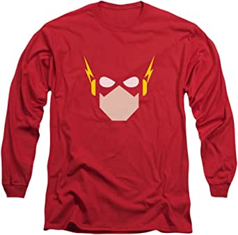 SIMPLIFIED FLASH COMIC HEAD Licensed Adult Long Sleeve T-Shirt S-3XL