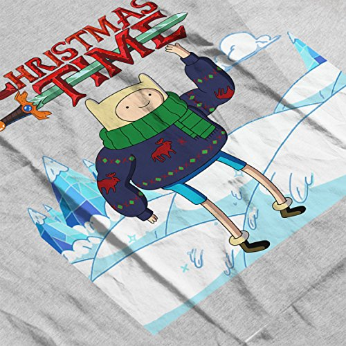 Adventure Christmas Time Finn Ice World Cartoon Network Women's Vest Heather Grey