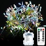 GreenClick LED Kupferdraht Lichterkette,200 LED Lichterkette batterie, LED Lichterketten außen/Innenbeleuchtung,mehrfarbig, Fernbedienung, 8 Modi Wasserdicht IPX7 Weihnachtsbeleuchtung,Garten,Hochzeit,Party&Haus Deko