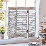 Dekoobjekt Fenster-Paravent - Shabby Chic - Holz - Antik Weiß