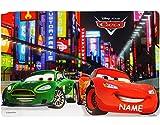 1 Stück _ Unterlage -  Disney Cars - Lightning McQueen  - incl. Name - 43 cm * 29 cm - Tischunterlage / Platzset & Tischset - abwischbar - Platzdeckchen / M..