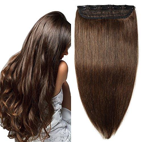 Extension capelli veri clip fascia unica 5 clips larga 23cm lunga 40cm - 100% remy human hair capelli naturali lisci - #4 marrone cioccolato