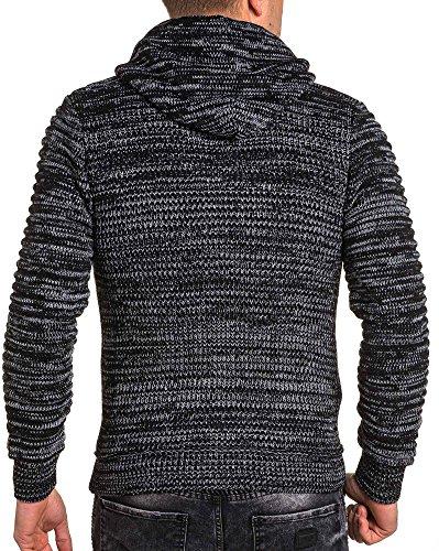 BLZ jeans - Gilet noir chiné homme zippé à capuche Noir