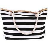 Outgeek Beach Tote Bag Fashion Striped Multi-Purpose Canvas Shoulder Bag Tote Handbag