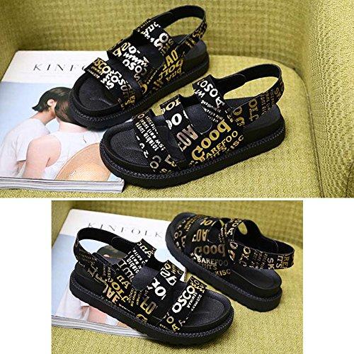 Eastlion Frauen Leichte Flache Bottom Sandalen Sommer Exponierte Zeh Magic Aufkleber Cool Beach Schuhe Stil 2 Gold