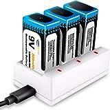 9V Batterij Oplaadbare met Oplader, Keenstone 3 stuks 9V PP3 Lithium-ion blok Oplaadbare Batterij & 3 Slots Oplader, 800mAh,