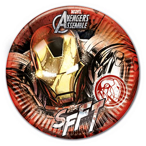 Procos 85381 - Piatti Carta Iron Man Marvel Avengers, Ø23 cm, 8 Pezzi, Rosso