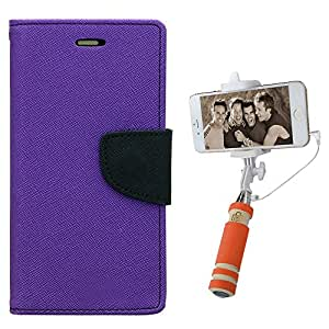 Aart Fancy Diary Card Wallet Flip Case Back Cover For Samsung A5 - (Purple) + Mini Aux Wired Fashionable Selfie Stick Compatible for all Mobiles Phones By Aart Store