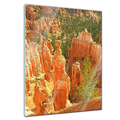 Glasbild - Thor's Hammer Amphitheater, Bryce Canyon, USA - 40x60 cm - Deko Glas - Wandbild aus Glas - Bild auf Glas - Moderne Glasbilder - Glasfoto - Echtglas - kein Acryl - Handmade - Bryce Amphitheater