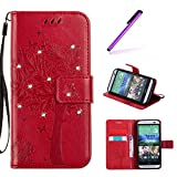 EMAXELERS HTC One M8 Hülle Wishing Tree Muster PU Leder Flip Cover Wallet Case im Handyhülle Ledertasche Case Tasche mit Standfunktion und Karte Halter für HTC One M8,Red Wishing Tree with Diamond