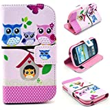 Angelina(TM) Samsung S3 Mini i8190 Case Lovely Cartoon Owl Magnetic Flip PU Leather Wallet Card Slot Stand Case Cover for Samsung S3 Mini i8190