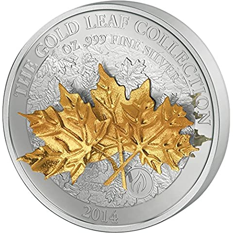 MAPLE LEAF 3D Gold Leaf Collection 1 Oz Silver Coin 10$ Samoa 2014 Moneda