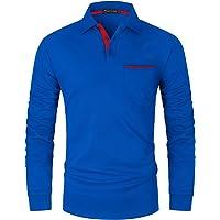 GHYUGR Slim Fit Polo Uomo Manica Lunga con Tasche Vere Cotone Camicia Golf Tennis Poloshirt Tshirt Magliette