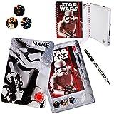 Unbekannt XL Schreibset -  Star Wars - Stormtrooper  - incl. Name - Aufbewahungsbox + Dickes Notizbuch mit Linien + Kugelschreiber 6 farbig + 3 Ansteck Pins - für Kin..