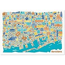 Póster con diseño de Barcelona - de La ciudad alemana de Plan de cartel de lámina
