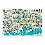 Barcelona Poster - Stadtplan Plakat Kunstdruck bunt