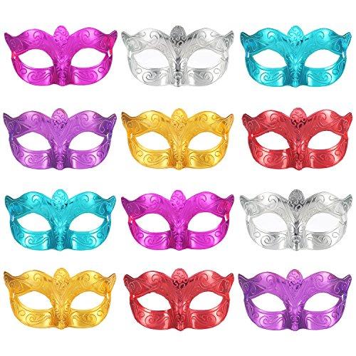 12 Stücke Unisex Überzogene Maskerade Halbe Gesichtsmaske Hochzeit Requisiten Mardi Gras Party Masken Karneval Kostüm Zubehör
