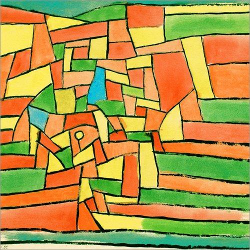 Posterlounge Holzbild 90 x 90 cm: Garten am Bach von Paul Klee/akg-Images
