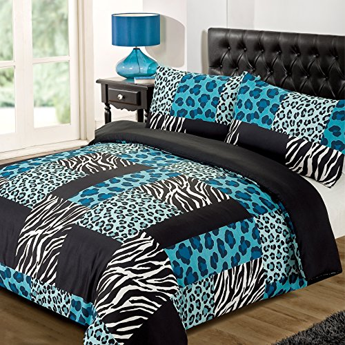 Dreamscene Luxurious Reversible with Leopard and Zebra Print Duvet Set, Polyester, Black/Teal, Single by (Teal Leopard Print)