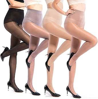 ANDIBEIQI 4-Pair Calze da donna collants 40D calze da olio calze di seta lucenti calze da danza collant