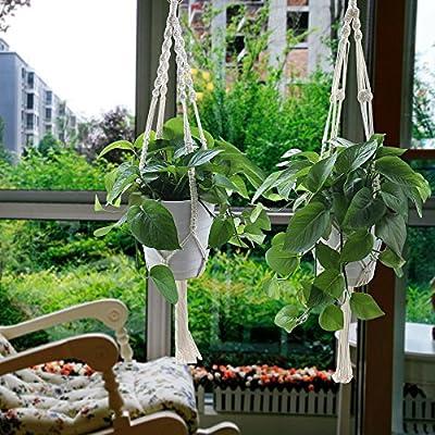 yotako Seil zum Aufhängen Pflanzgefäß, 3Muster innen Makramee Pflanzenhänger, große & kleine hängen Pflanzgefäße, Blumentopfhalter für Decke, Outdoor Garten Balkon Blumenampel Halterung von Yotako - Du und dein Garten